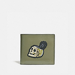 COACH 32633 - DISNEY X COACH DOUBLE BILLFOLD WALLET WITH SKULL ARMY GREEN