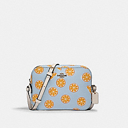 MINI CAMERA BAG WITH ORANGE PRINT - 3273 - IM/ORANGE/BLUE