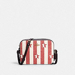 MINI CAMERA BAG WITH STRIPE STAR PRINT - 3277 - IM/CHALK/ RED MULTI