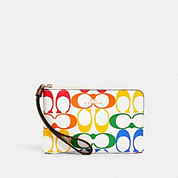 COACH 3289 - CORNER ZIP WRISTLET IN RAINBOW SIGNATURE CANVAS IM/CHALK MULTI