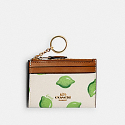 COACH 3302 Mini Skinny Id Case With Lime Print IM/CHALK GREEN MULTI