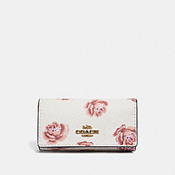 COACH 33035 - SIX RING KEY CASE WITH ROSE PRINT CHALK ROSE PRINT/LIGHT GOLD