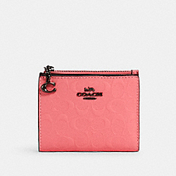 COACH 3306 - SNAP CARD CASE IN SIGNATURE LEATHER QB/PINK LEMONADE
