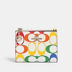 COACH 3307 - SNAP CARD CASE IN RAINBOW SIGNATURE CANVAS IM/CHALK MULTI