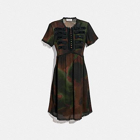 COACH 33265 TIE DYE PRINT MILITARY DRESS BROWN/GREEN