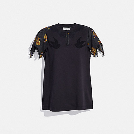 COACH LACE EMBROIDERED T-SHIRT - DARK SHADOW - 33300