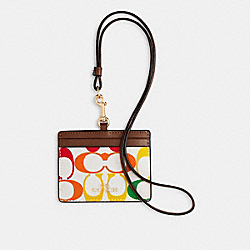 COACH 3353 Id Lanyard In Rainbow Signature Canvas IM/CHALK MULTI
