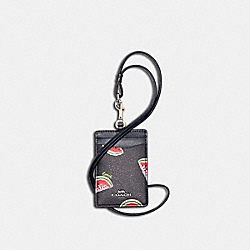 COACH 3356 Id Lanyard With Watermelon Print SV/NAVY RED MULTI