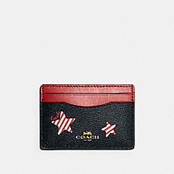 COACH 3365 Card Case With Americana Star Print IM/NAVY/ RED MULTI
