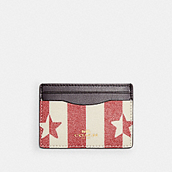 COACH 3366 - CARD CASE WITH STRIPE STAR PRINT IM/CHALK/ RED MULTI