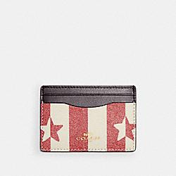 COACH 3366 Card Case With Stripe Star Print IM/CHALK/ RED MULTI