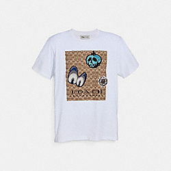 DISNEY X COACH SIGNATURE T-SHIRT WITH PATCHES - WHITE - COACH 34206