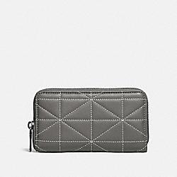 COACH 34589 Zip Around Phone Wallet With Quilting HEATHER GREY/BLACK/NICKEL
