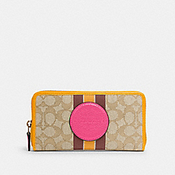 COACH 3473 - DEMPSEY ACCORDION ZIP WALLET IN SIGNATURE JACQUARD WITH STRIPE AND COACH PATCH IM/LT KHAKI ELECTRIC PINK