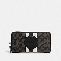 COACH 3473 - DEMPSEY ACCORDION ZIP WALLET IN SIGNATURE JACQUARD WITH STRIPE AND COACH PATCH SV/BLACK SMOKE BLACK MULTI
