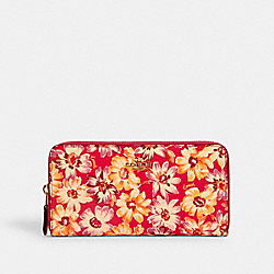 COACH 3474 - ACCORDION ZIP WALLET WITH VINTAGE DAISY SCRIPT PRINT IM/PINK MULTI