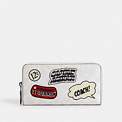 COACH 3475 Coach │ Marvel Accordion Zip Wallet In Signature Canvas With Patches SV/CHALK MULTI