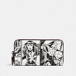 COACH 3477 Coach │ Marvel Accordion Zip Wallet With Comic Book Print SV/LT CHALK/ BLACK