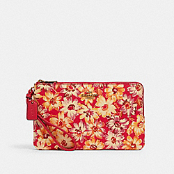 COACH 3496 - DOUBLE ZIP WALLET WITH VINTAGE DAISY SCRIPT PRINT IM/PINK MULTI