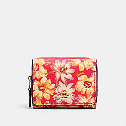COACH 3509 - SMALL TRIFOLD WALLET WITH VINTAGE DAISY SCRIPT PRINT IM/PINK MULTI