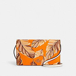 ANNA FOLDOVER CROSSBODY CLUTCH WITH BANANA LEAVES PRINT - 3565 - IM/REDWOOD SUNBEAM MULTI