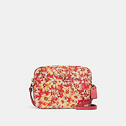 MINI CAMERA BAG WITH VINTAGE DAISY SCRIPT PRINT - 3572 - IM/PINK MULTI