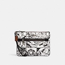 COACH 3578 Coach │ Marvel Gallery Pouch With Comic Book Print SV/LT CHALK/ BLACK