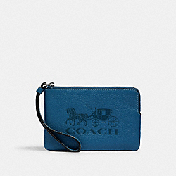 COACH 3580 Jes Corner Zip Wristlet With Horse And Carriage SV/BLUE JAY