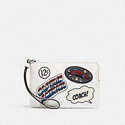 COACH 3581 Coach │ Marvel Corner Zip Wristlet In Signature Canvas With Patches SV/CHALK MULTI