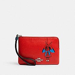 COACH 3583 Coach │ Marvel Corner Zip Wristlet With Spider-man SV/MIAMI RED MULTI