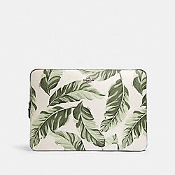 COACH 3592 Laptop Sleeve With Banana Leaves Print SV/CARGO GREEN CHALK MULTI