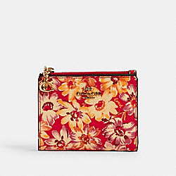 COACH 3595 - SNAP CARD CASE WITH VINTAGE DAISY SCRIPT PRINT IM/PINK MULTI