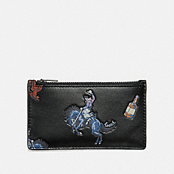 COACH 36224 - ZIP CARD CASE WITH RODEO PRINT BLACK/BLUE
