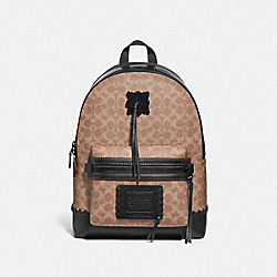 COACH 36242 Academy Backpack In Signature Canvas With Whipstitch BLACK/KHAKI/MATTE BLACK