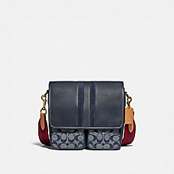 COACH 3679 Map Bag In Signature Chambray With Varsity Stripe OL/CHAMBRAY