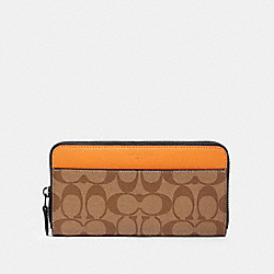 COACH 372 Accordion Wallet In Colorblock Signature Canvas QB/TAN ADMIRAL MULTI