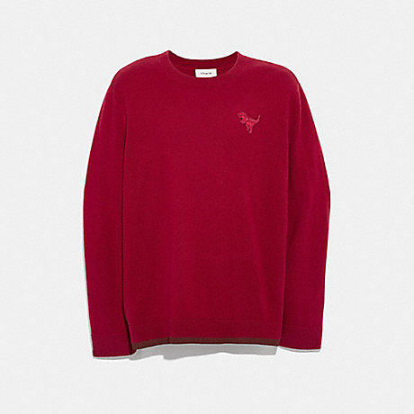 COACH 37473 REXY PATCH CREWNECK SWEATER RED