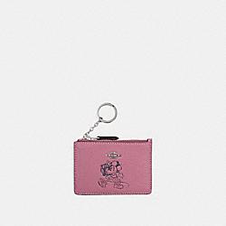 COACH 37536B Boxed Minnie Mouse Mini Skinny Id Case SV/ROSE