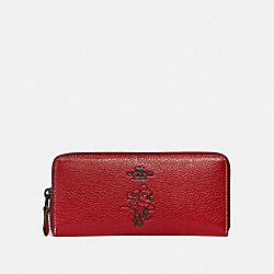 COACH 37537B - BOXED MINNIE MOUSE SLIM ACCORDION ZIP WALLET WITH MOTIF 1941 RED/DARK GUNMETAL