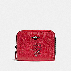 COACH 37538B - BOXED MINNIE MOUSE SMALL ZIP AROUND WALLET WITH MOTIF 1941 RED/DARK GUNMETAL