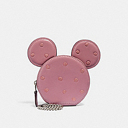 COACH 37539B Boxed Minnie Mouse Coin Case SV/ROSE