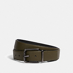 COACH 375 Harness Buckle Cut-to-size Reversible Belt, 38mm QB/UTILITY GREEN BLACK