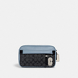 COACH 3760 - EDGE BELT BAG IN COLORBLOCK SIGNATURE CANVAS WITH COACH PATCH QB/PEBBLE BLUE CHARCOAL