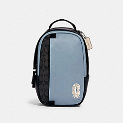 COACH 3762 - EDGE PACK IN COLORBLOCK SIGNATURE CANVAS WITH COACH PATCH QB/PEBBLE BLUE CHARCOAL