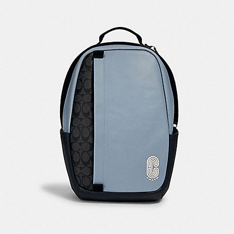 COACH 3764 EDGE BACKPACK IN COLORBLOCK SIGNATURE CANVAS WITH COACH PATCH QB/PEBBLE BLUE CHARCOAL