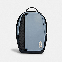 COACH 3764 - EDGE BACKPACK IN COLORBLOCK SIGNATURE CANVAS WITH COACH PATCH QB/PEBBLE BLUE CHARCOAL