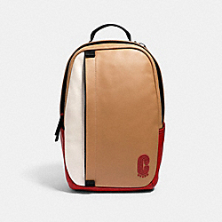 COACH 3765 Edge Backpack In Colorblock With Coach Patch QB/LATTE MULTI