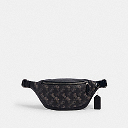 COACH 376 - WARREN MINI BELT BAG WITH HORSE AND CARRIAGE PRINT QB/BLACK MULTI