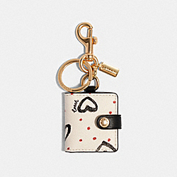 COACH 377 Picture Frame Bag Charm With Crayon Hearts Print IM/CHALK PINK MULTI/BLACK