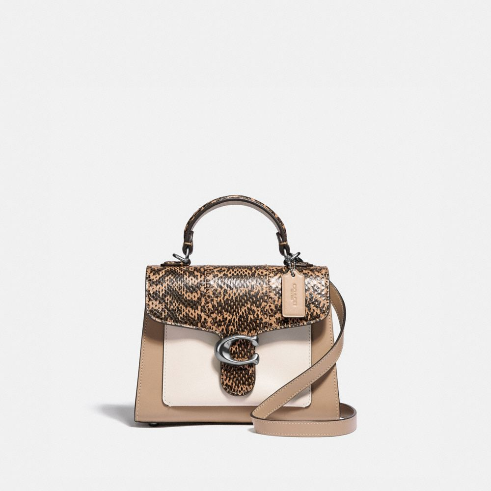TABBY TOP HANDLE 20 IN COLORBLOCK WITH SNAKESKIN DETAIL